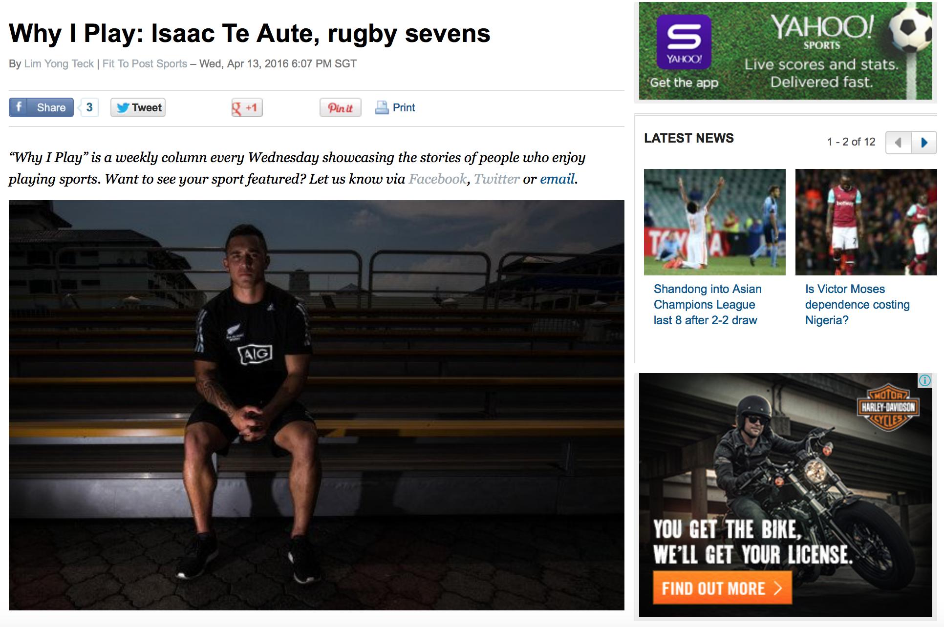 Isaac Te Aute feature for Yahoo! (www.yahoo.com)