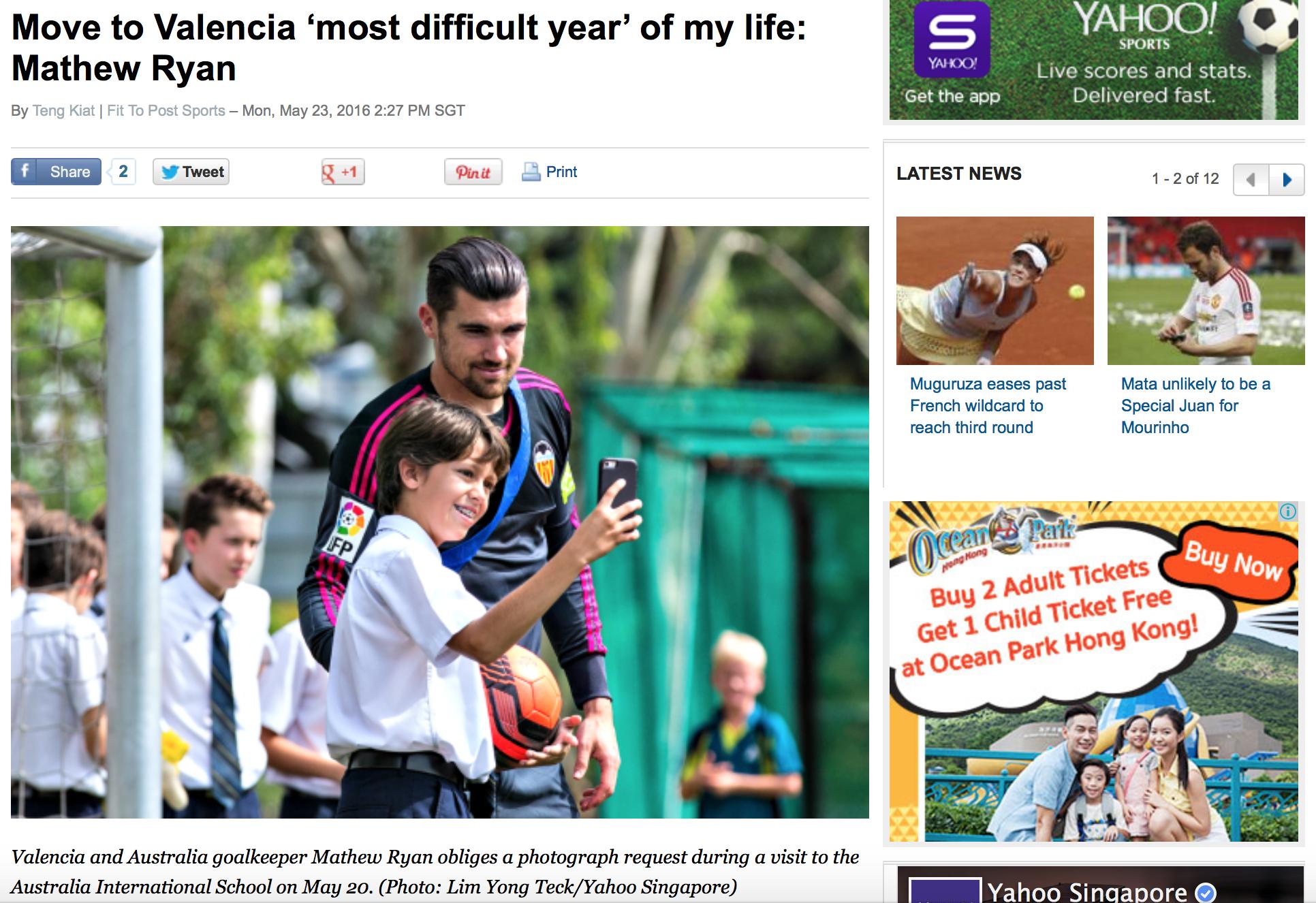 Valencia CF feature for Yahoo! (www.yahoo.com)