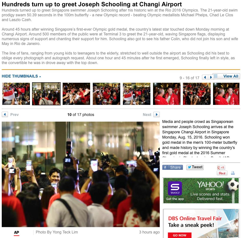 Joseph Schooling's Singapore return for the Associated Press (www.apimages.com)