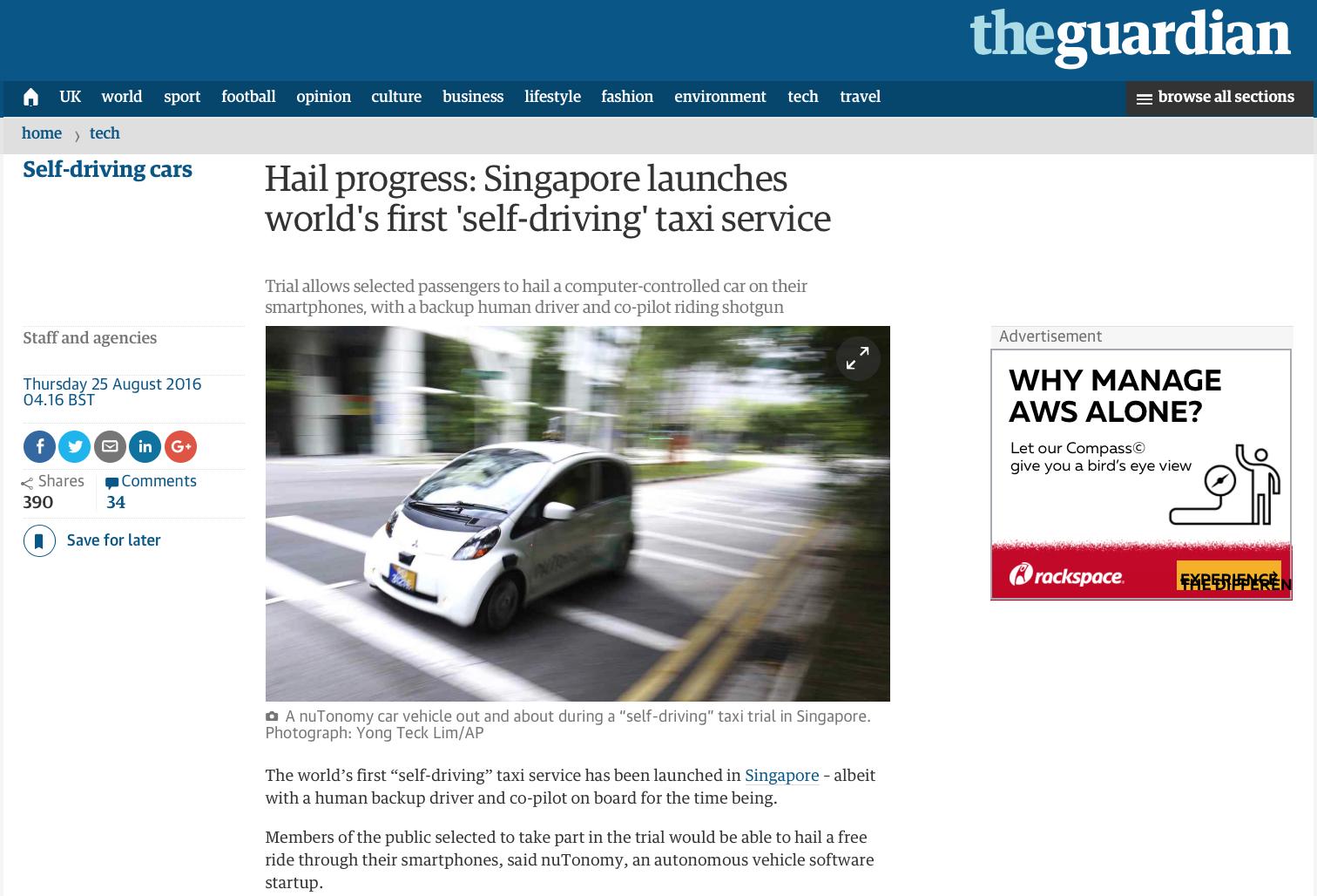 nuTonomy - Autonomous taxi feature for the Associated Press (www.apimages.com)
