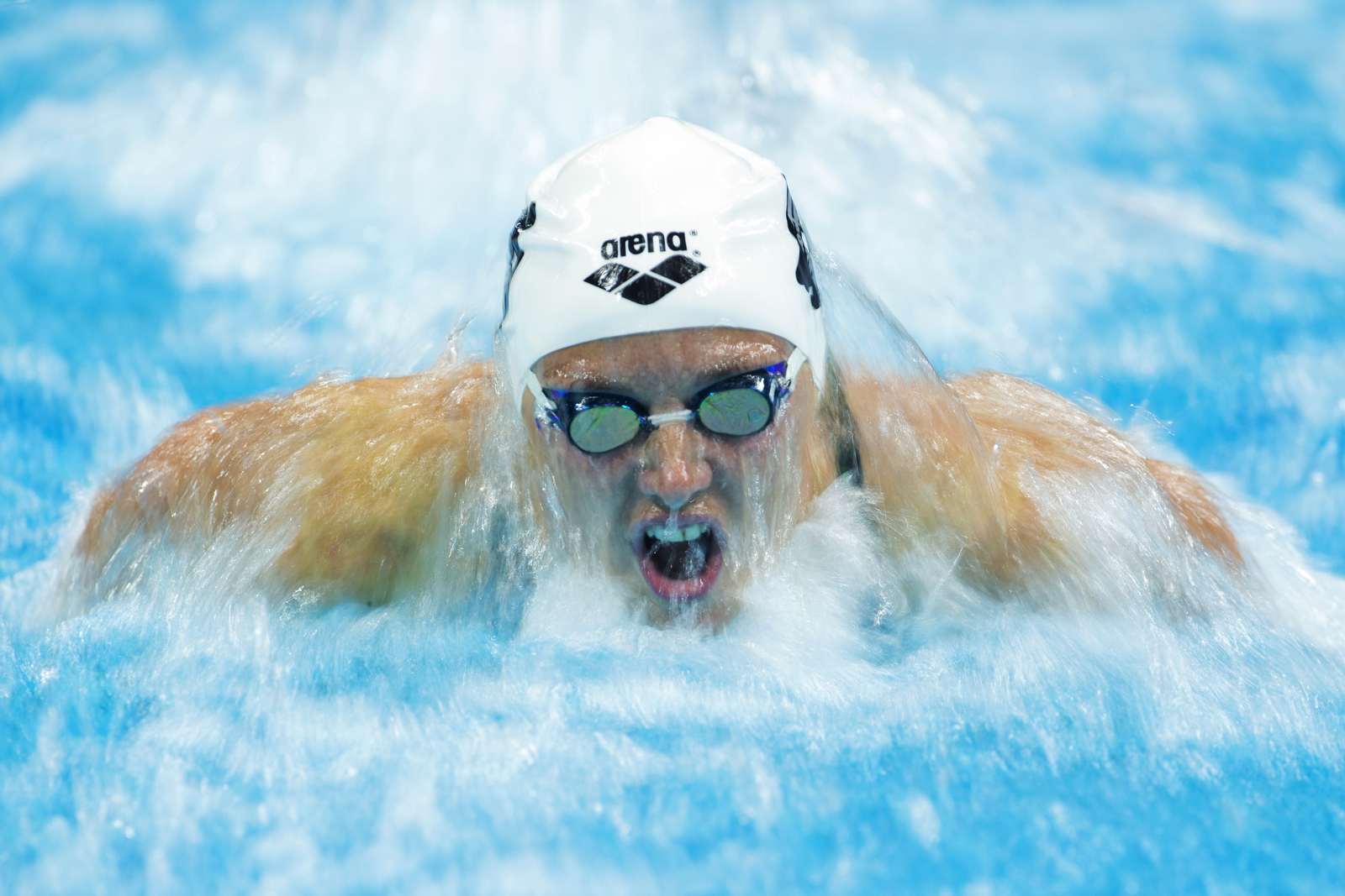 Katinka Hosszu of Hungary swims during the women's 200m butterfly final on day two of the FINA/airweave Swimming World Cup 2015 at OCBC Aquatic Centre on October 4, 2015 in Singapore.