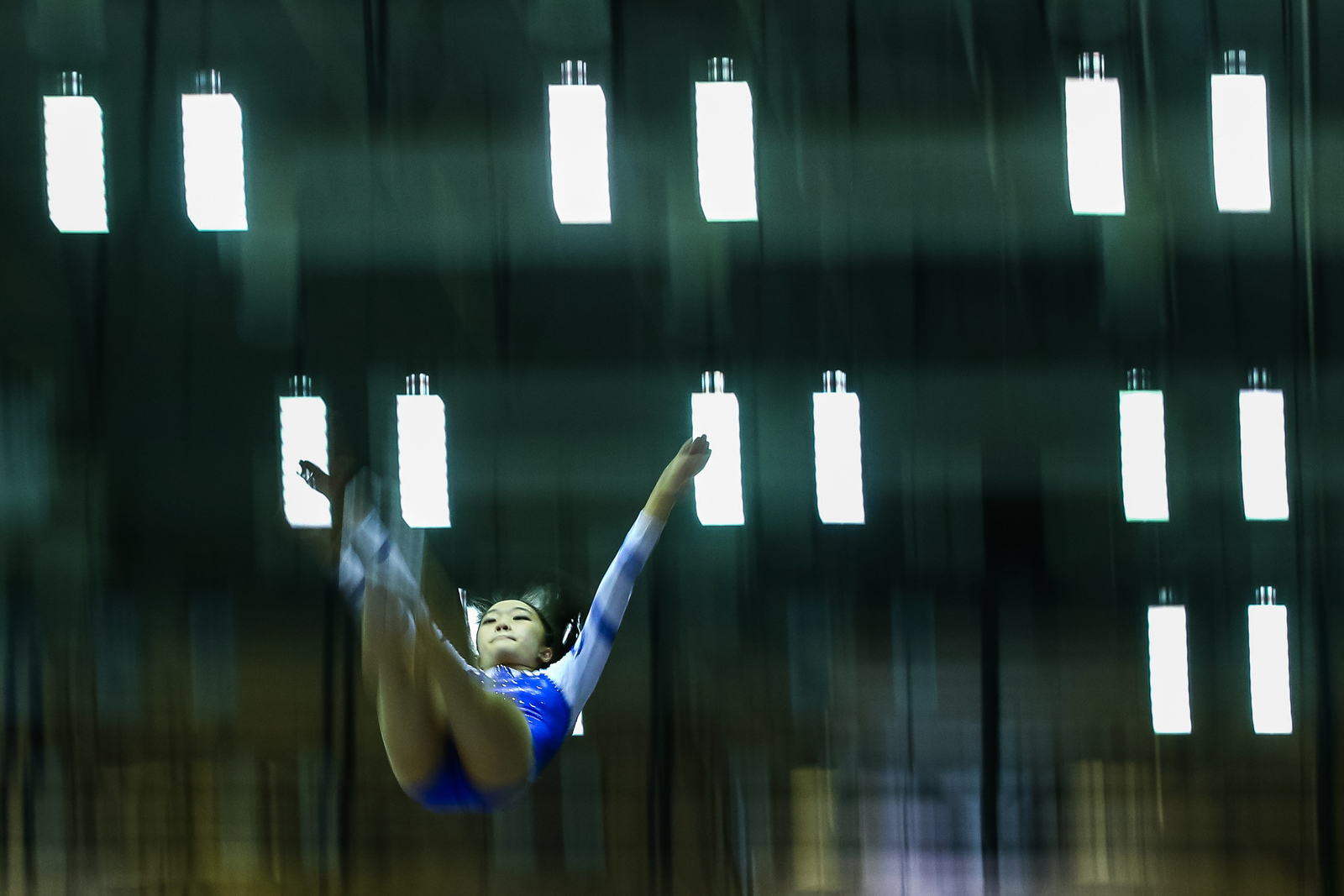 Charmaine Lee of Singapore Chinese Girls' School performs her routine during the National School Games Trampoline Championships at Bishan Sports Hall on March 23, 2016 in Singapore.