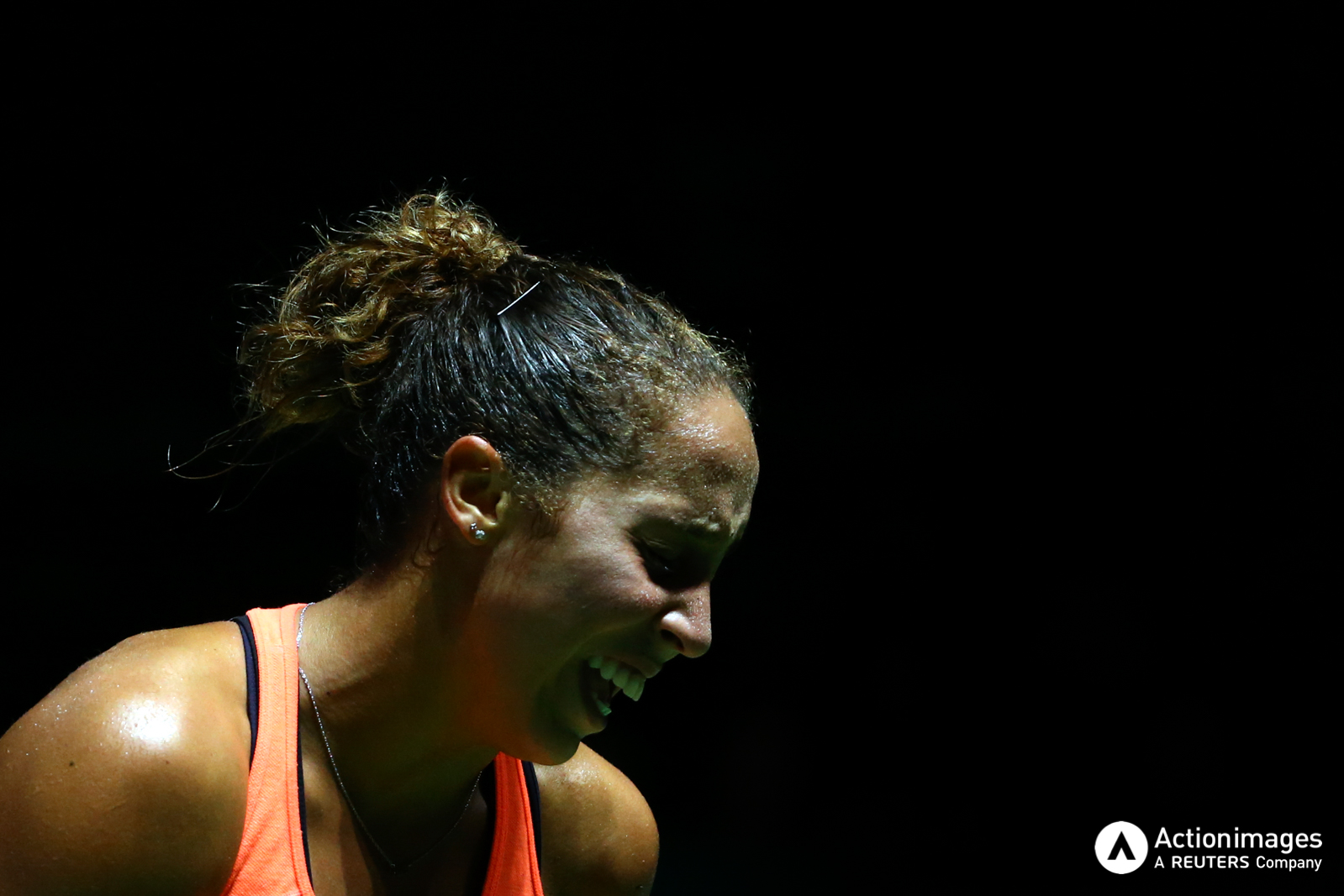 Tennis - BNP Paribas WTA Finals - Singapore Indoor Stadium - 27/10/16 USA's Madison Keys reacts during her round robin match Mandatory Credit: Action Images / Yong Teck Lim Livepic