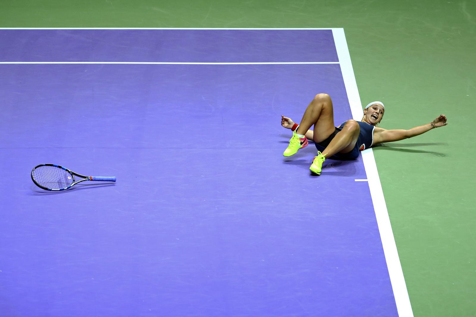 Tennis - BNP Paribas WTA Finals - Singapore Indoor Stadium - 30/10/16 Slovakia's Dominika Cibulkova celebrates during her final match Mandatory Credit: Action Images / Yong Teck Lim Livepic EDITORIAL USE ONLY.