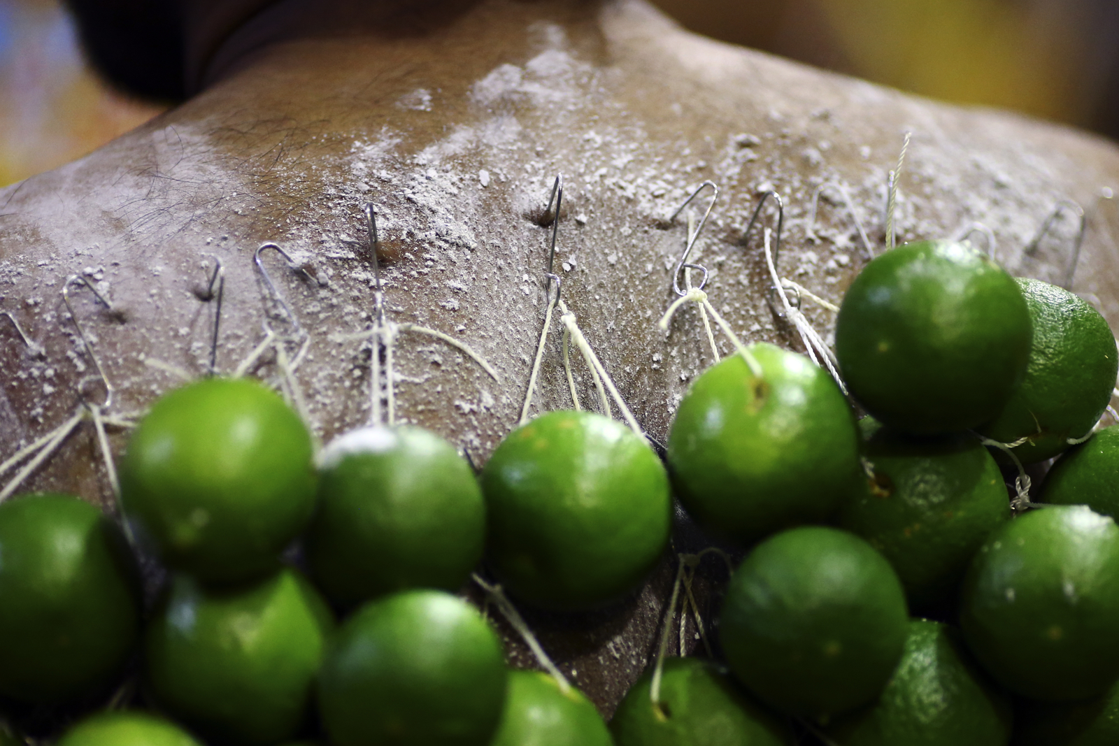 A devotee carries lime piercings on his back during the Thaipusam festival at the Sri Srinivasa Perumal Temple on February 9, 2017 in Singapore.