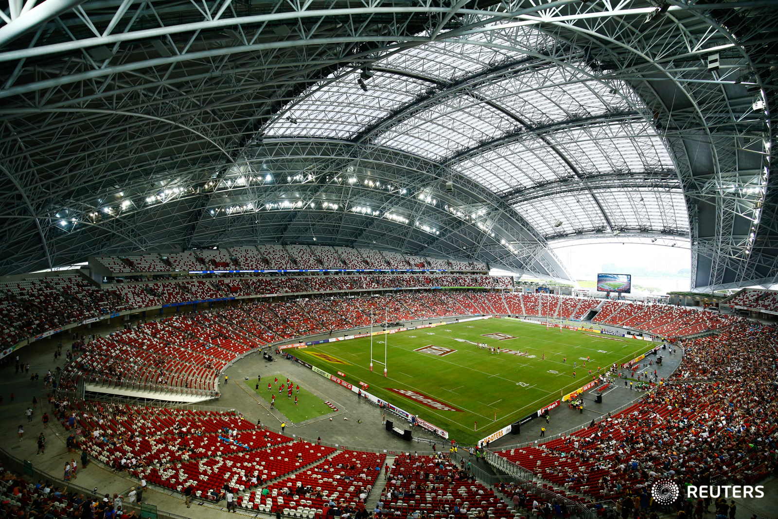 Rugby Union - Singapore Sevens - National Stadium, Singapore, 15/04/17 - A general view of the match between USA and Wales. REUTERS/Yong Teck Lim
