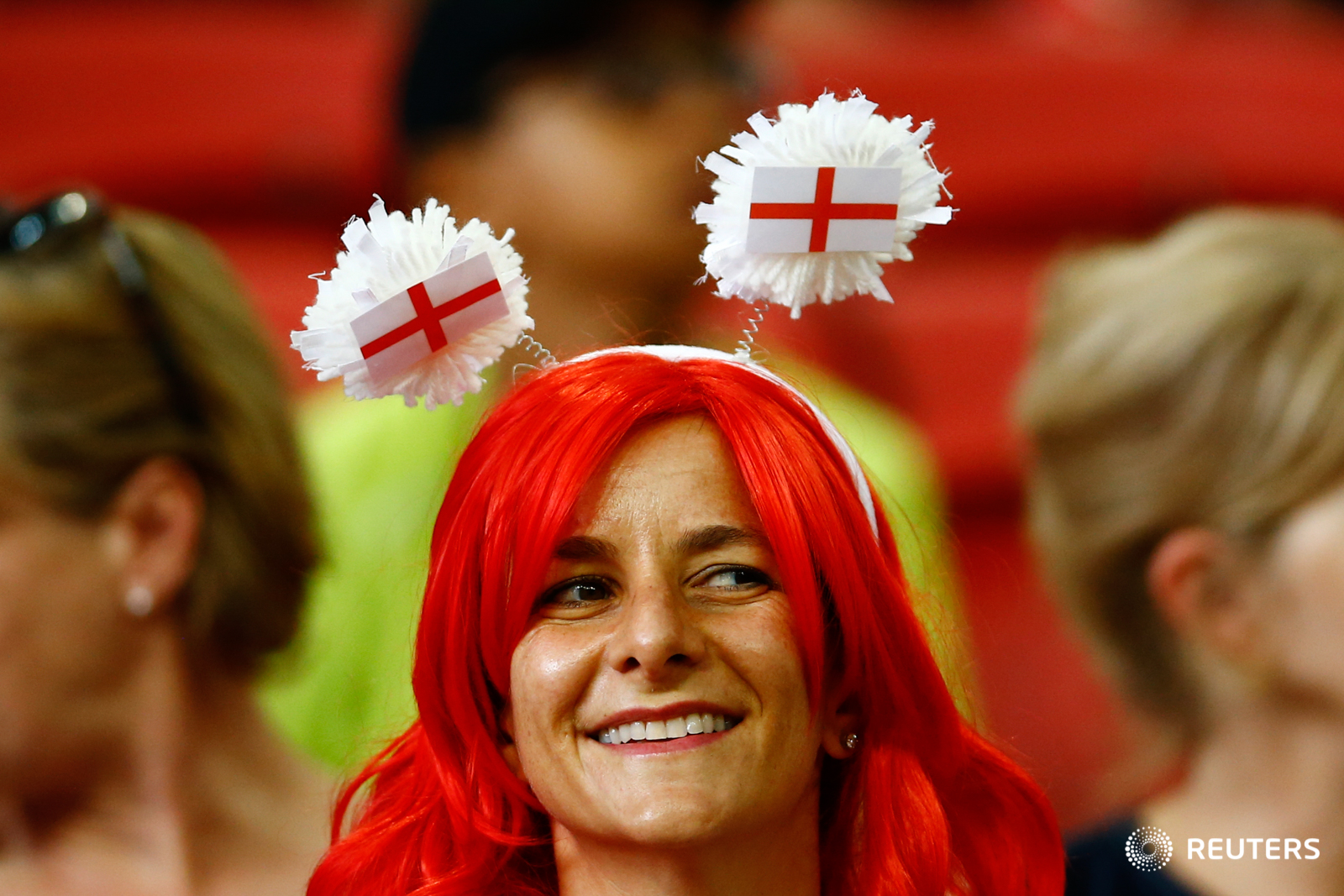 Rugby Union - Singapore Sevens - National Stadium, Singapore, 15/04/17 - An England rugby fan reacts. REUTERS/Yong Teck Lim