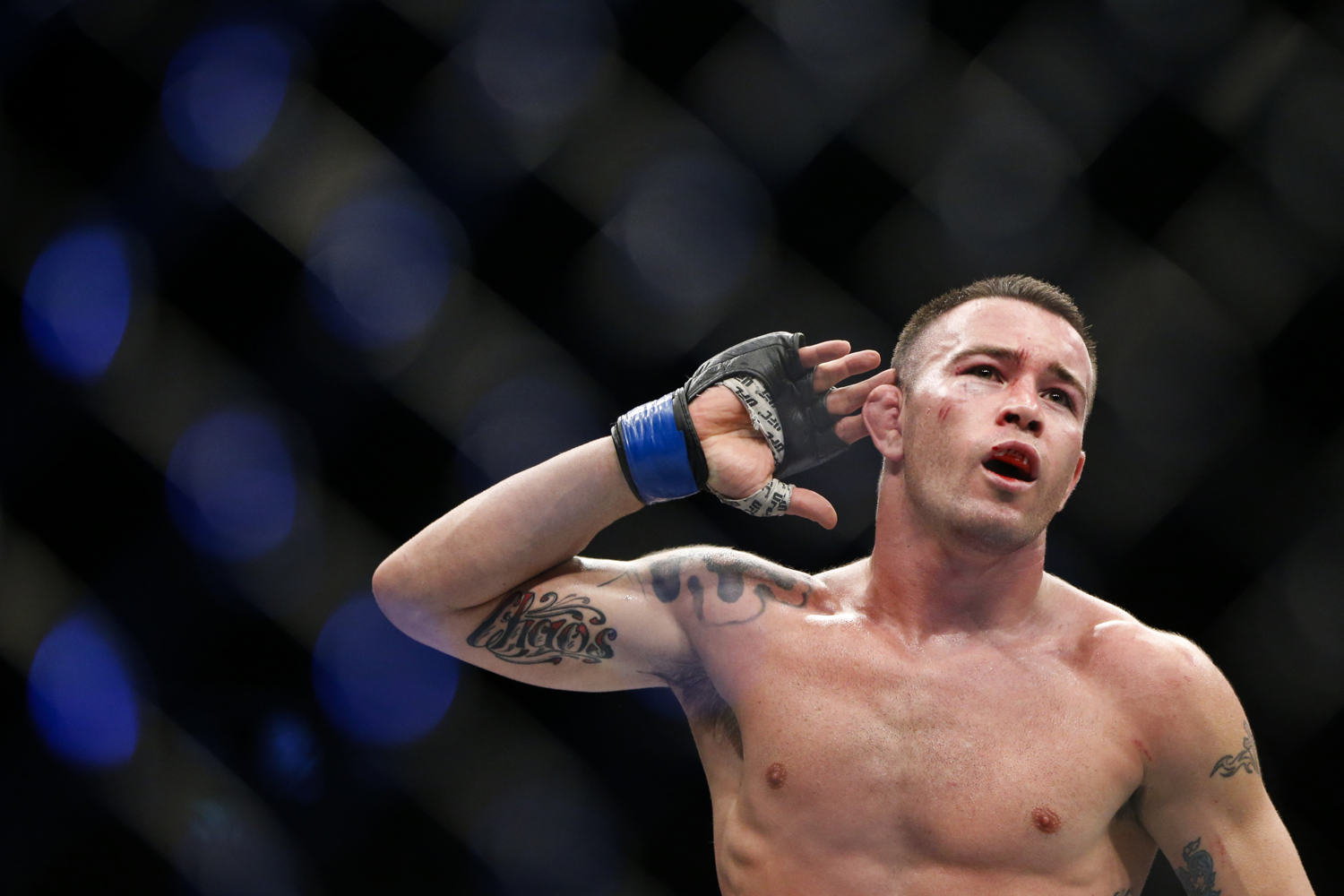 Colby Covington of the United States reacts after his welterweight bout win over Dong Hyun Kim of South Korea at the UFC Fight Night at the Singapore Indoor Stadium on June 17, 2017.