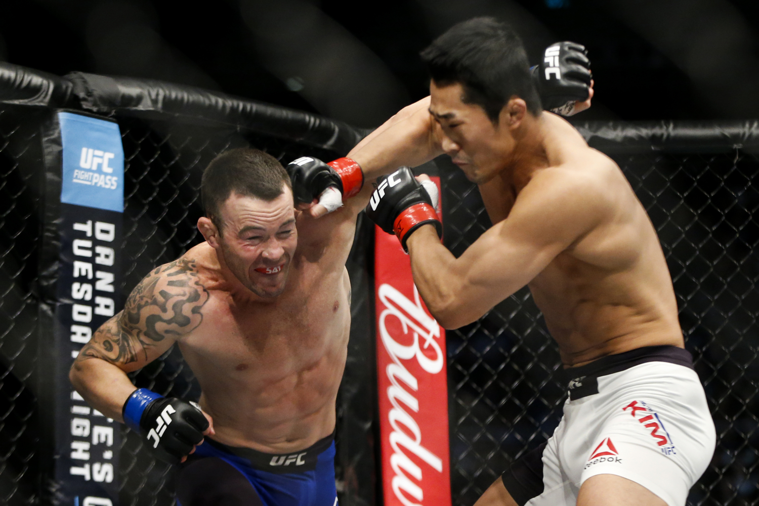 Colby Covington (L) of the United States fights with Dong Hyun Kim of South Korea during their welterweight bout at the UFC Fight Night at the Singapore Indoor Stadium on June 17, 2017.