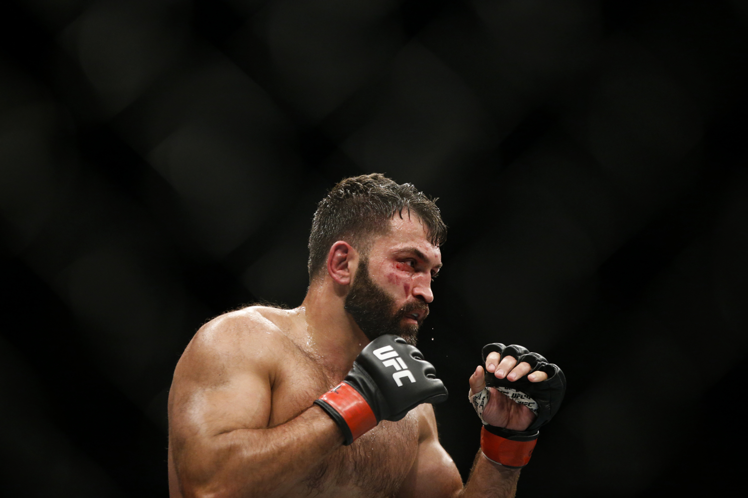 Andrei Arlovski of Belarus in action during his heavyweight bout against Marcin Tybura of Poland at the UFC Fight Night at the Singapore Indoor Stadium on June 17, 2017.
