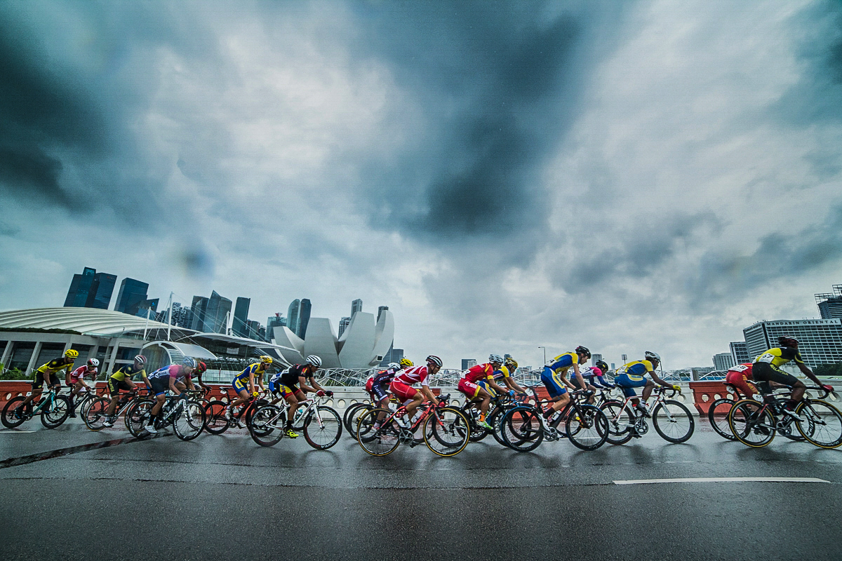 The peloton in action during the men's mass start road race of the cycling competition at the 28th Southeast Asian Games at Marina Bay South on June 14, 2015 in Singapore.