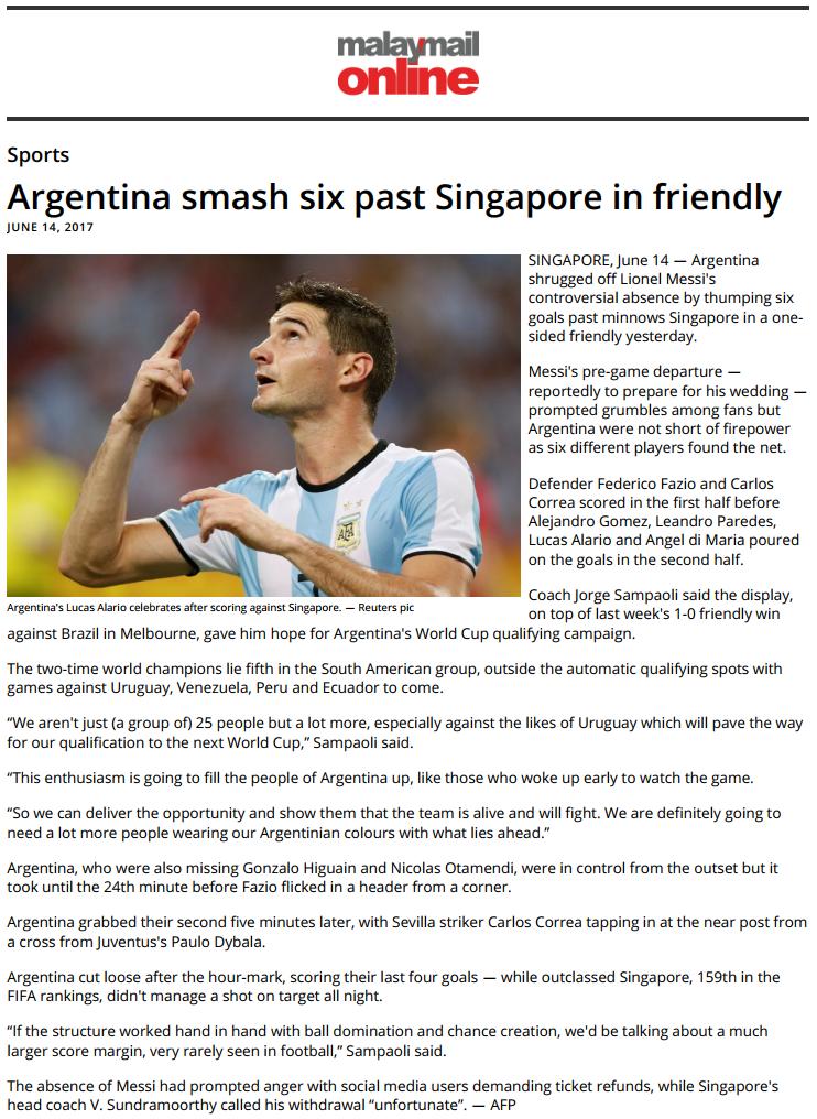 Singapore vs Argentina international friendly for Reuters (pictures.reuters.com)
