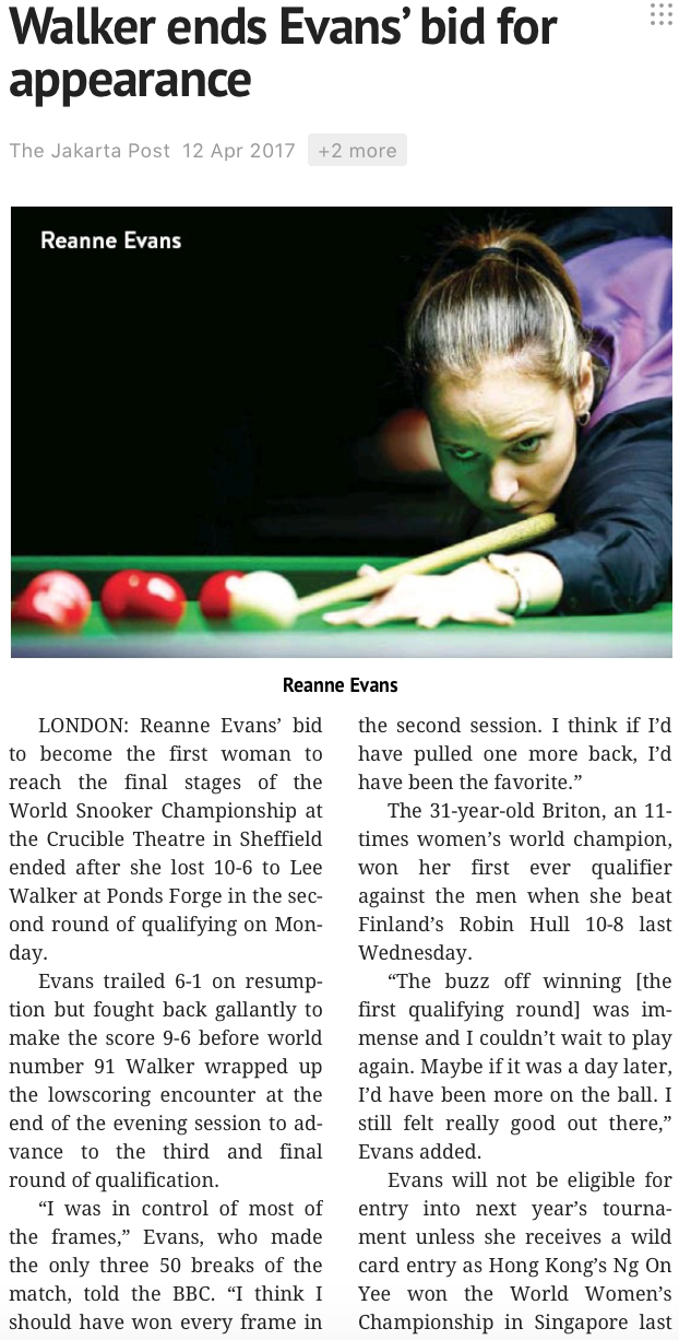 Singapore Women's Snooker Open for Reuters (pictures.reuters.com)