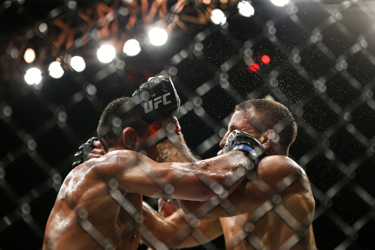 Rafael dos Anjos (L) of Brazil fights Tarec Saffiedine of Belgium during their welterweight bout at the UFC Fight Night at the Singapore Indoor Stadium on June 17, 2017.