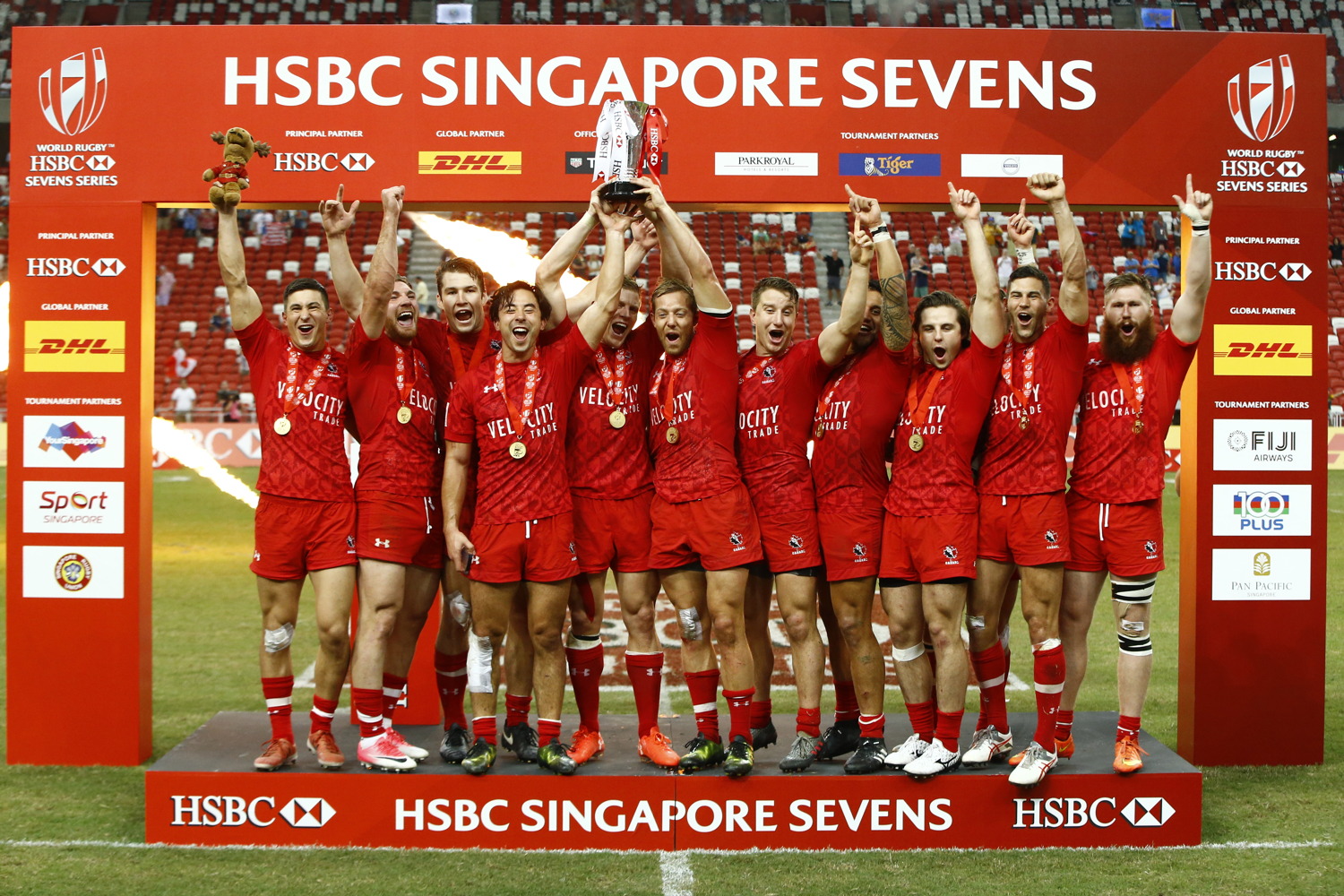 Rugby Union - Singapore Sevens Final - National Stadium, Singapore - 16/04/17 - Canada players celebrate their victory. REUTERS/Yong Teck Lim