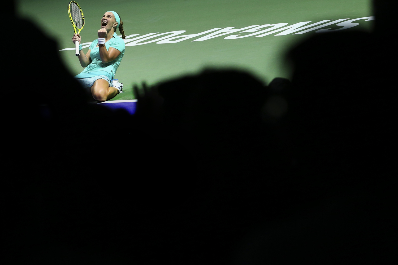 Tennis - BNP Paribas WTA Finals - Singapore Indoor Stadium - 26/10/16 Russia's Svetlana Kuznetsova celebrates during her round robin match Mandatory Credit: Action Images / Yong Teck Lim Livepic EDITORIAL USE ONLY.