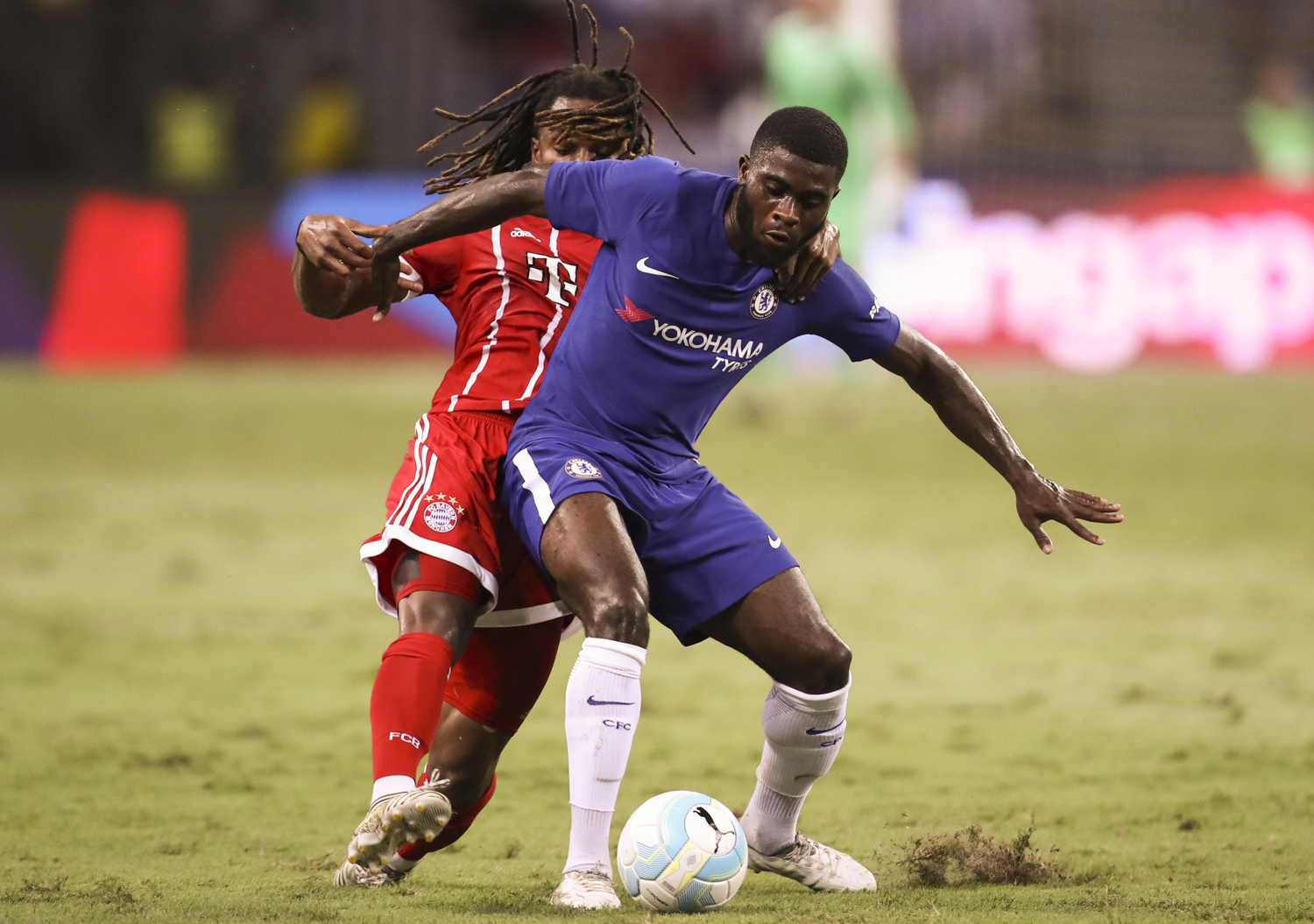 Soccer Football - Chelsea vs Bayern Munich - International Champions Cup - Singapore - July 25, 2017 Chelsea's Jeremie Boga in action against Bayern Munich's Renato Sanches REUTERS/Yong Teck Lim