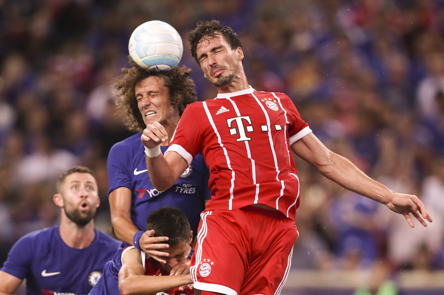 Soccer Football - Chelsea vs Bayern Munich - International Champions Cup - Singapore - July 25, 2017 Chelsea's David Luiz in action against Bayern Munich's Mats Hummels REUTERS/Yong Teck Lim