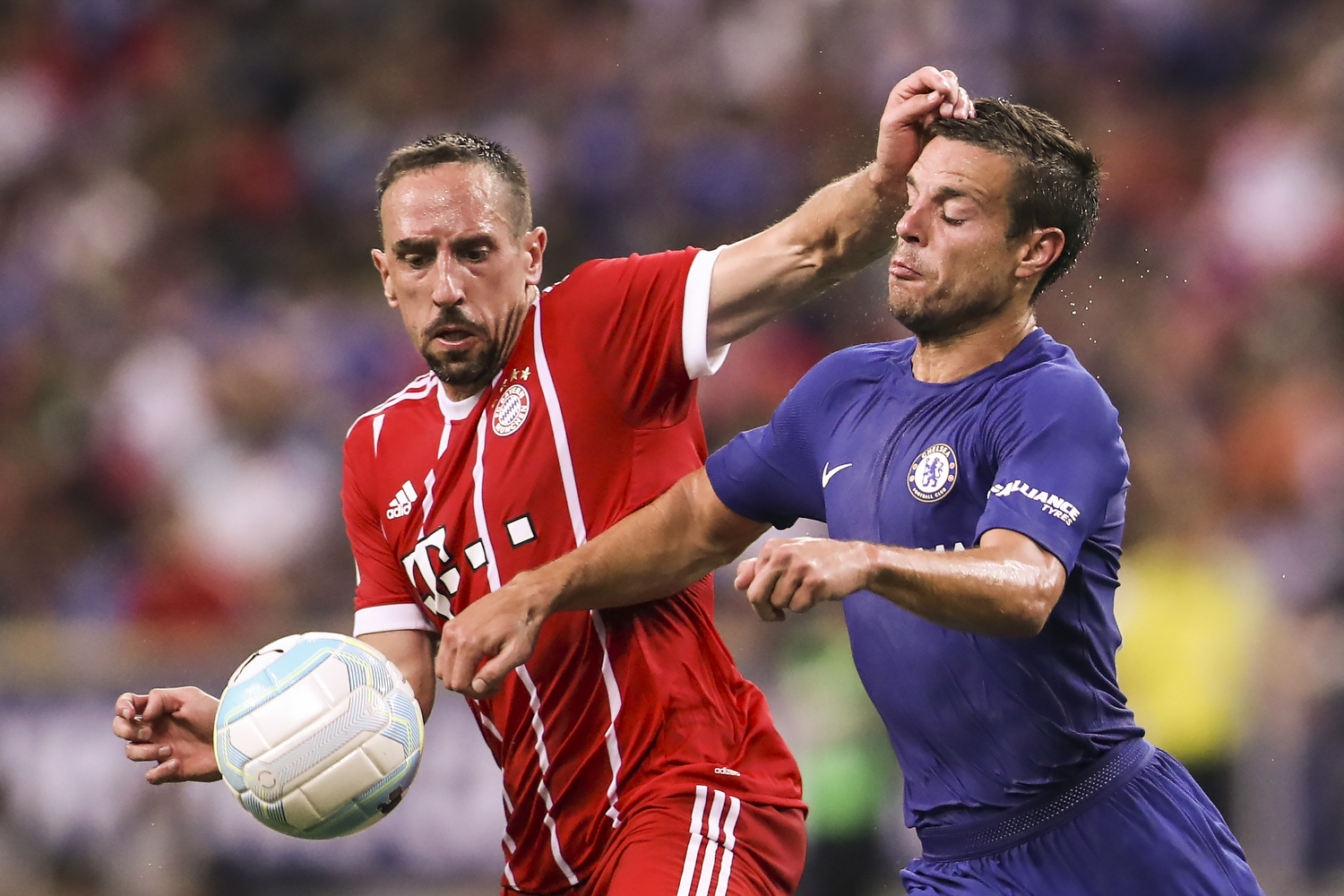 Soccer Football - Chelsea vs Bayern Munich - International Champions Cup - Singapore - July 25, 2017 Bayern Munich's Franck Ribery in action against Chelsea's Cesar Azpilicueta REUTERS/Yong Teck Lim