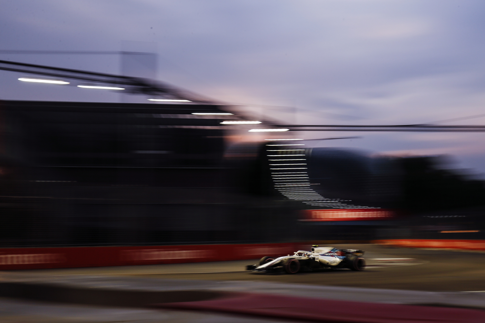 Williams driver Sergey Sirotkin of Russia steers his car during third practice at the Marina Bay City Circuit ahead of the Singapore Formula One Grand Prix in Singapore, Saturday, Sept. 15, 2018. (AP Photo/Yong Teck Lim)