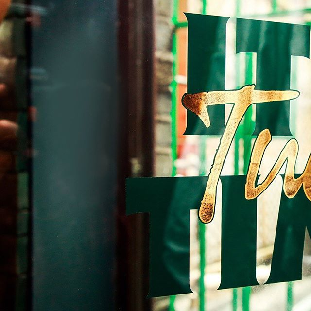 It certainly is Tully Time. @tullamoredew .  Custom made traditional style window with graphic inset between 3 panes of glass for @thepalacebardublin . #tullamore #window #design #branding
