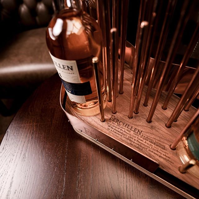 These POS units we designed and made for @fercullenirishwhiskey in time for the launch of their beautiful visitor centre in Powerscourt Estate. A combination of 2 types of timber forms a heavy base with a light gap which has nearly 100 copper and brass rods coming out of it, forming a topographical shape of the sugarloaf mountain. . . #distillery #whiskey #irishwhiskey #timber #wood #walnut #ash #copper #brass #ireland #powerscourt #design #irishdesign