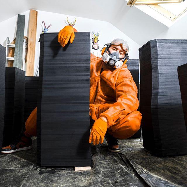 Orange is the new black . . . #black #orange #workshop #painting