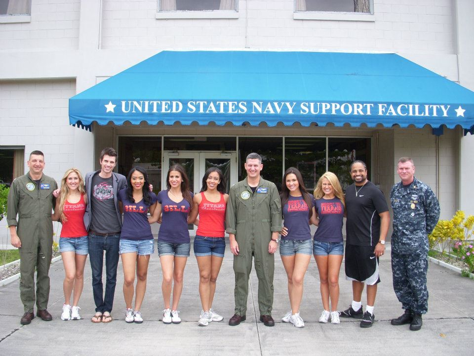 Performing for the troops in the Indian Ocean