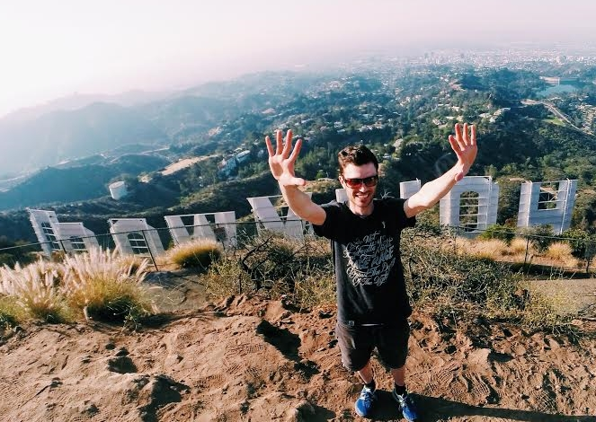 On top of the Hollywood sign