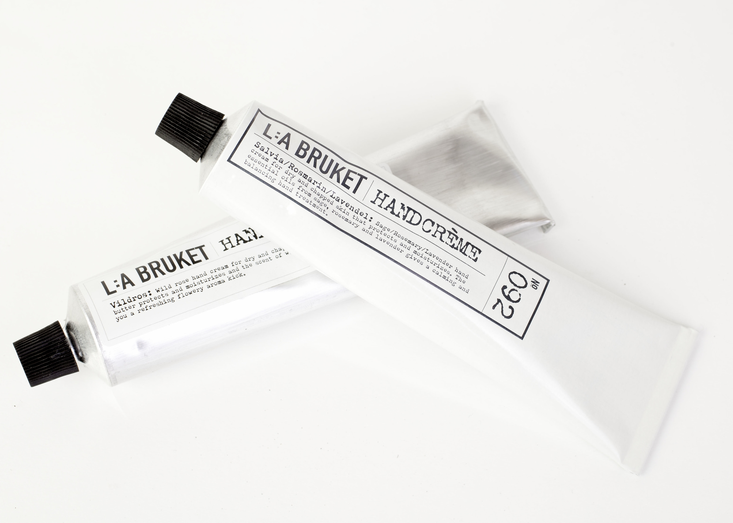 L:A Bruket's handcreme in Wildrose and Sage/Rosemary/Lavender. Perfect for dry and chapped hands as it protects and moisturizes.