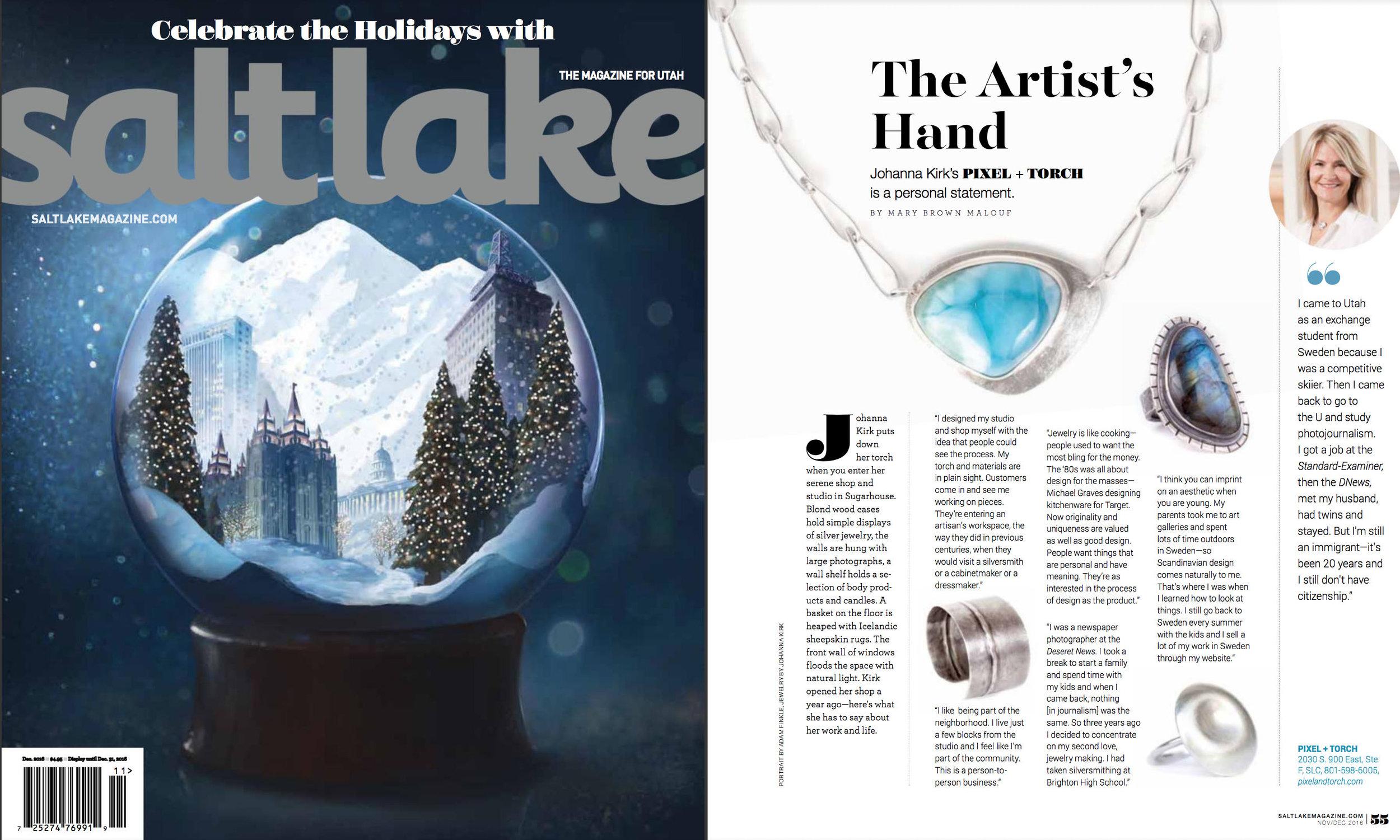 Salt Lake Magazine, December 2016.
