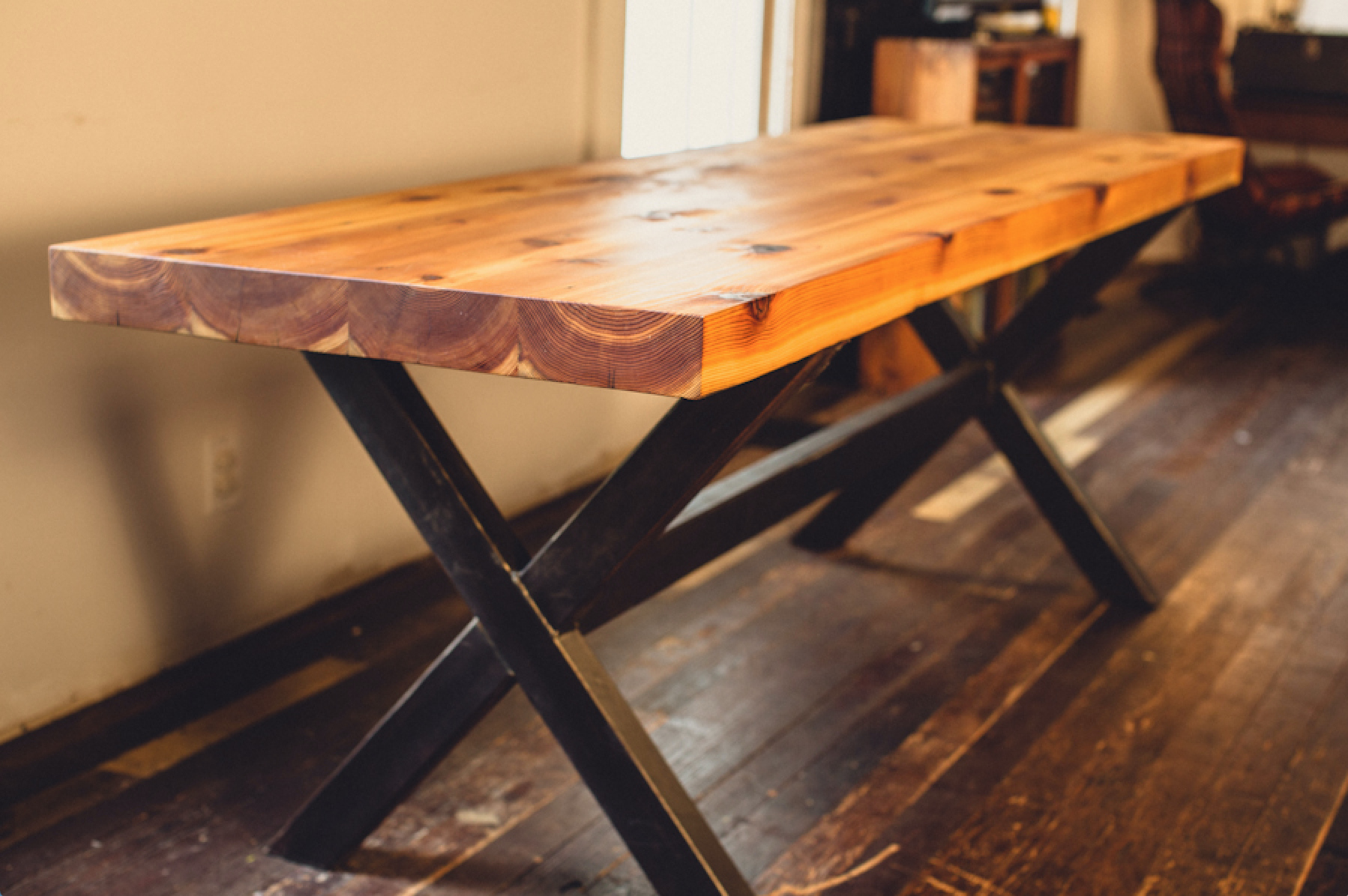 CEDAR + STEEL DINING TABLE