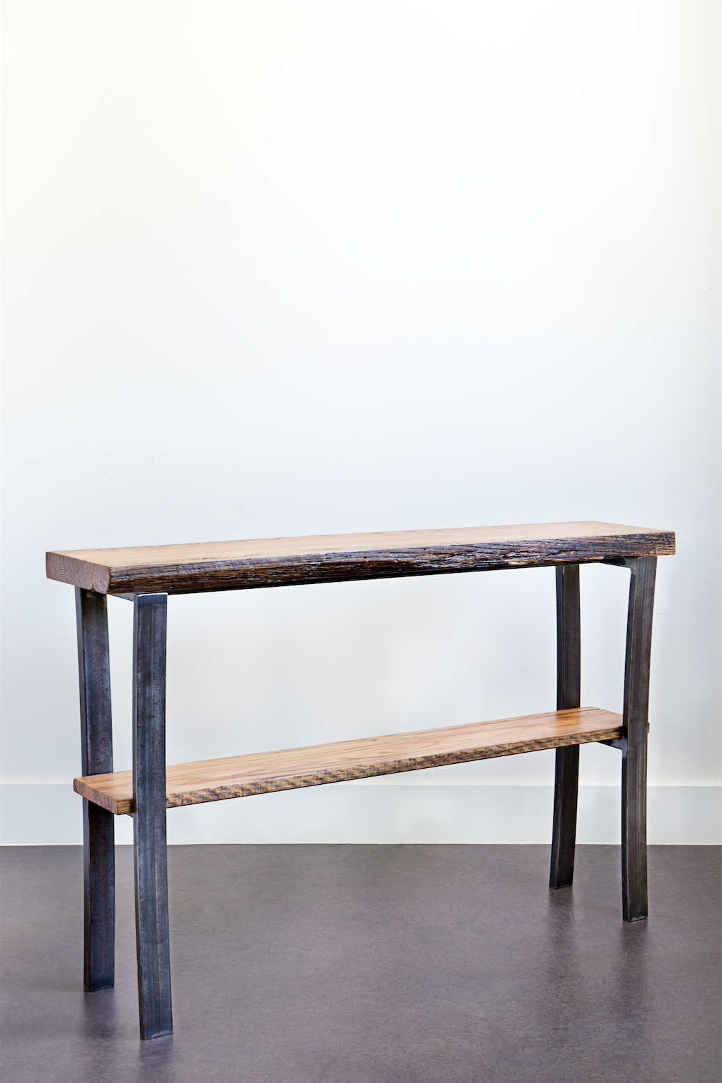 OAK + STEEL CONSOLE TABLE