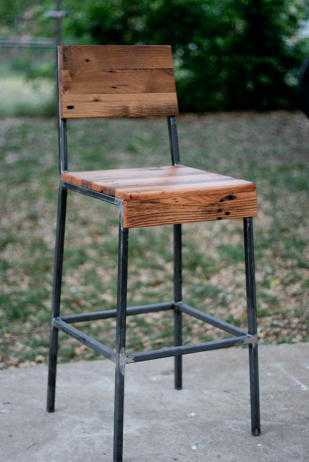 HIGH-BACKED PECAN STOOL — 13 x 13 x 26 (at seat)