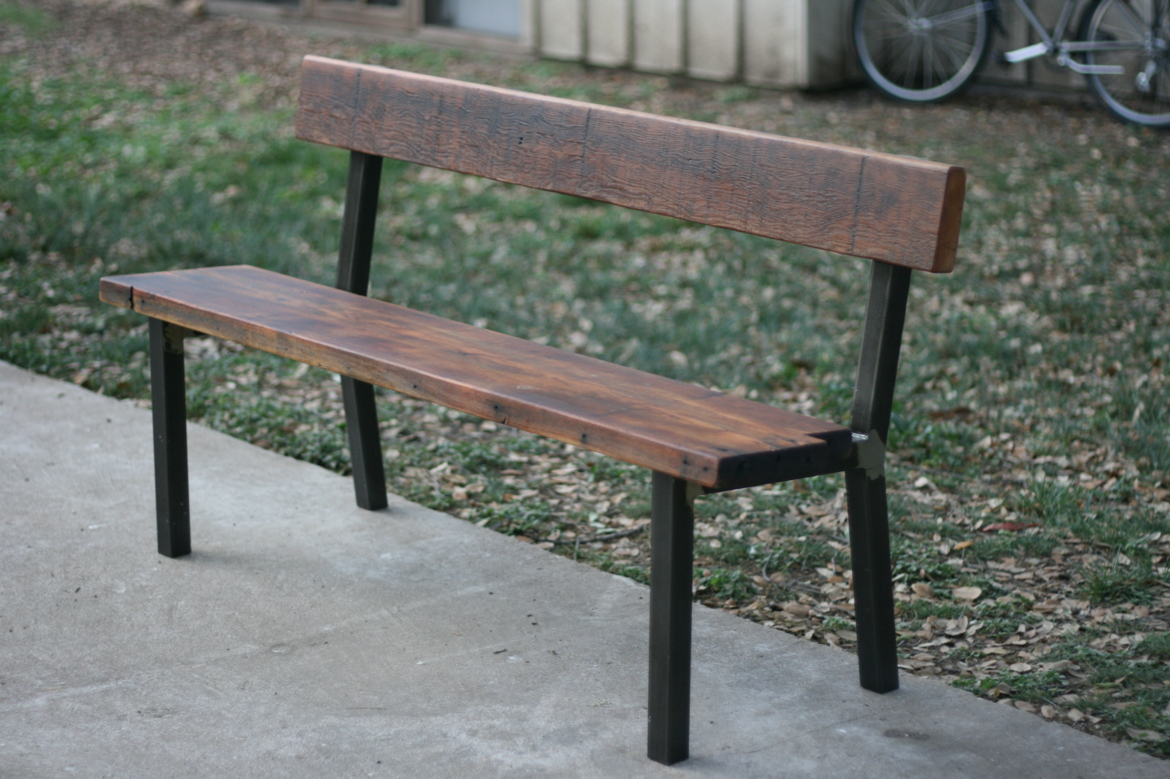 HIGH-BACKED PINE BENCH — 14 x 56 x 18 (at seat)