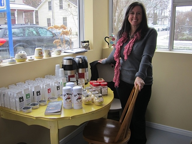 Gina showcasing some of her tea blends.