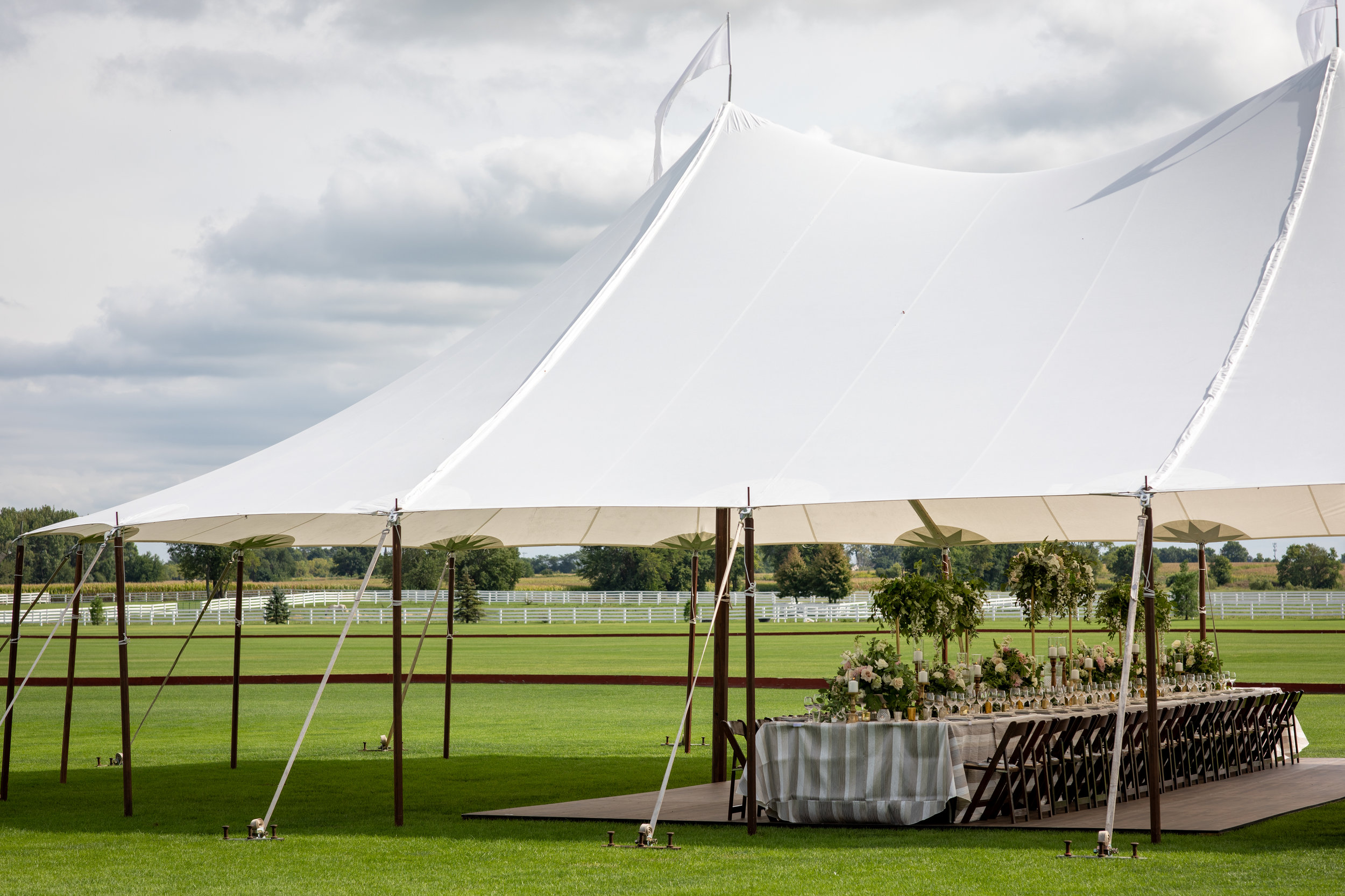 We work exclusively with  Blue Peak Tents  to customize each clients needs. We have several rental companies we work with to provide all of your needs, from chairs + tables to linens.