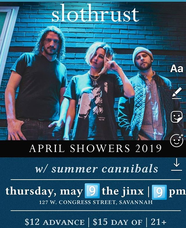 Have you grabbed your tickets yet? @slothrust hits @thejinx912 on Thursday, fresh off a fantastic show at @shakykneesfest! . . #savannah #livemusic
