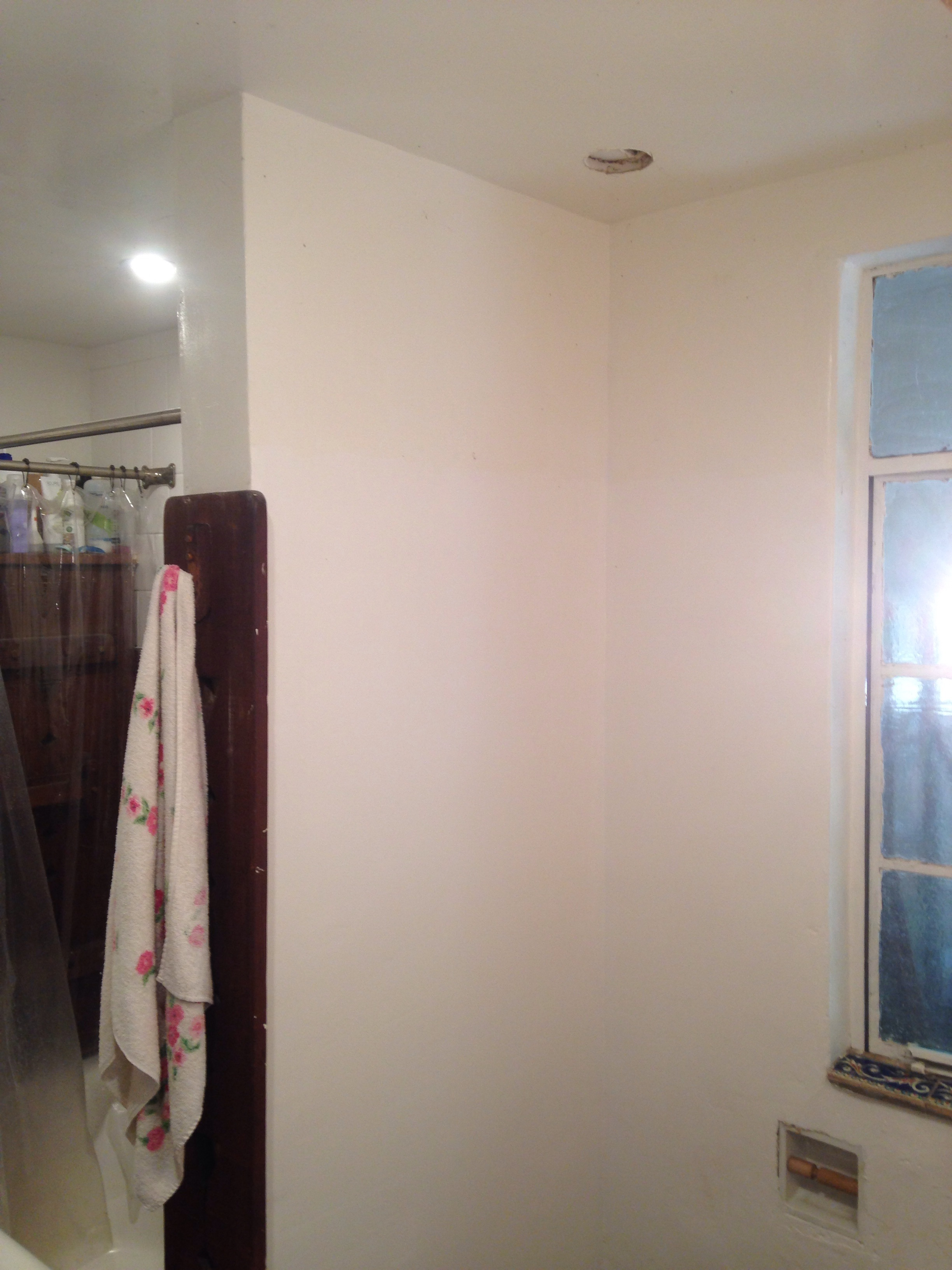 Corner near the shower... The fan shouldn't be directly above the shower or the moisture will damage it