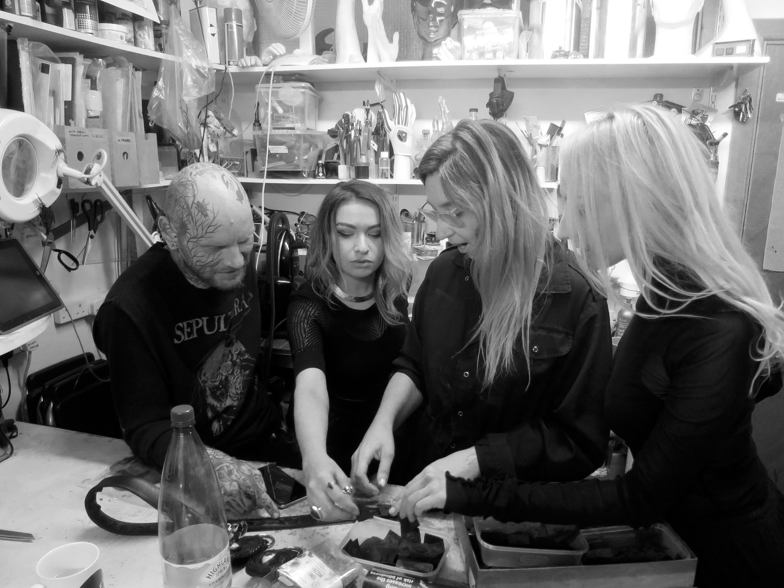 everyone gets involved selecting nipples for Raf's upcycled leather belt