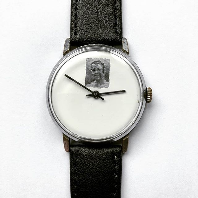 I'm so so chuffed with my new #timepiece, a hand painted miniature by the multitalented @mrianbruce on a vintage soviet watch. This portrait is of my late uncle Nick, painted using his ashes so he is always with me. He was the coolest person i knew as a kid. He drove a white Landrover Defender or an old merc saloon which he built himself and I loved the smell of his leather jackets and rollies and coffee. He owned a scrapyard and is likely the first inspiration for my obsession with reclaimed treasure and seeing beauty when others see rubbish. He had my back and used to tell me stories of where we came from and our secret mad family history. One of my most precious possessions is the battered ancient zippo lighter he gave me as a runaway teen. The magical people who believe in us when it feels like no one else does are the ones who inspire us to become the best we can be. Thank you Ian so much for an amazing #mementomori. I love it so much and will wear it every day 🖤  #minimalist #monochrome #handmade #portrait #treasure #wristwatch #oldskool #analog #memorial