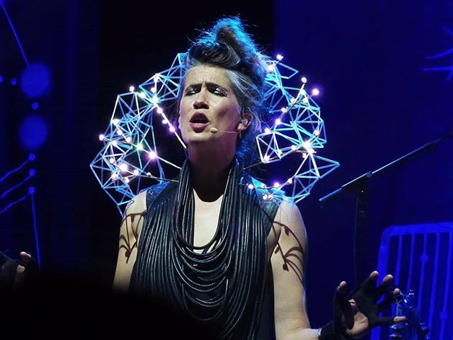 Bolero 2.0! @imogenheap has been mesmerising on tour. I did the original designs for her sound reactive bolero which she can program to respond to her @mi.mu.gloves. It was painstakingly and exquisitely designed, constructed and integrated by @melissakatecoleman, @sumsinus, @rebeccaodedradesign and of course @mostlynoise. Bespoke #wearabletech is a complex thing, it takes a whole team of people with different skills and the ability to understand each other and collaborate. And the sleepless nights! Then when you see it on stage it becomes effortless MAGIC. The design is #modular so the tech can be swapped out, repaired and maintained and the aesthetic can evolve with Immi. Other designers can be invited to create bespoke pieces to adorn the interactive jewelled #LED base. Gorgeous dress by @gelarehdesigns #GOTEAM #imogenheap #melissacoleman #rebeccaodedra #joachimrotteveel #adamstark #rachelfreire #mimugloves #wearables #interactiondesign #musicthroughmovement #modulardesign