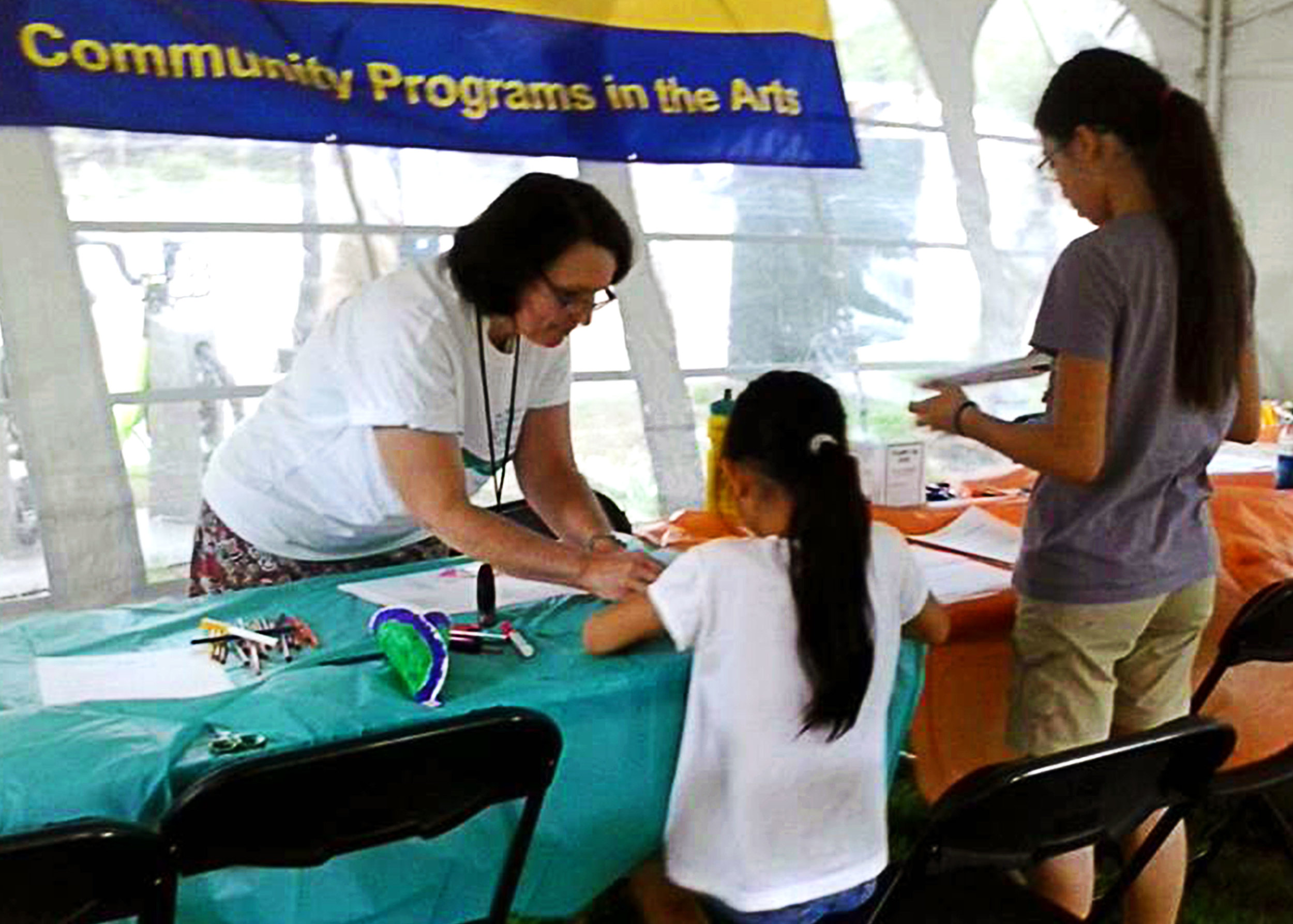 Making Art in the COMPAS art tent - flint hills 2013