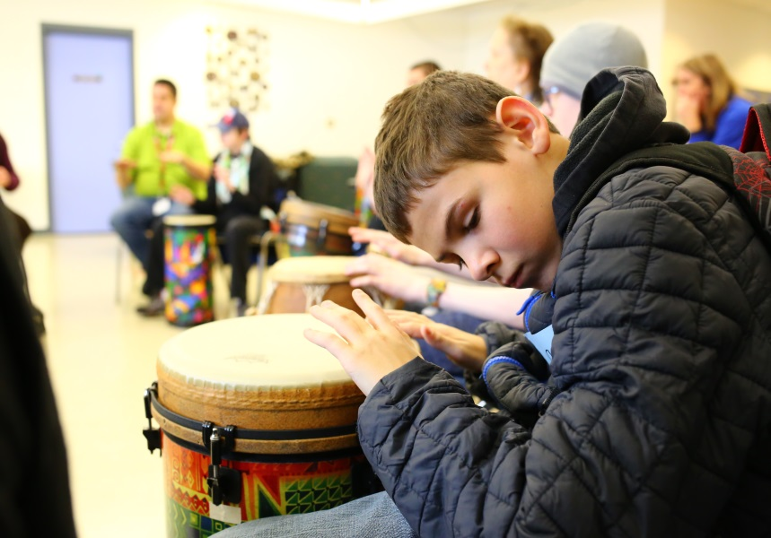 A student at the Minnesota Academy for the Blind Practices his drumming
