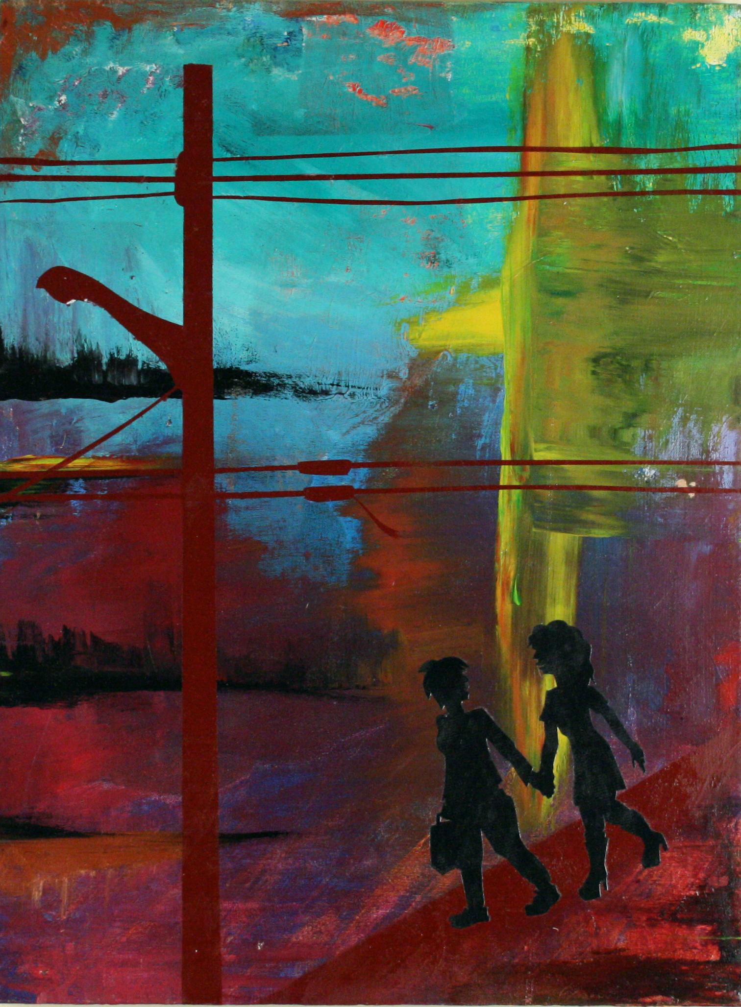"""Walking Home."" Katrina Knutson. 2012.Acrylic, aerosol and paper on canvas"