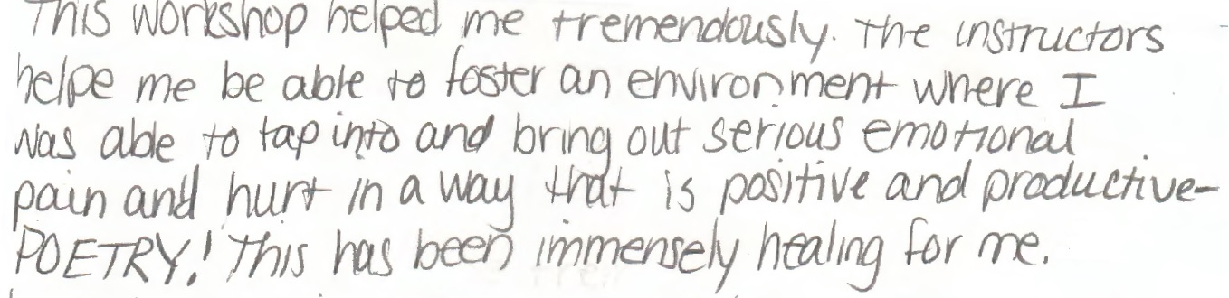 Evaluation from a student who participated in the Women's Writing Program at Washington County Jail this fall