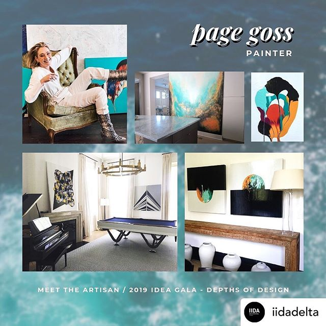 "#repost from @iidadelta MEET THE ARTISAN: Page Goss ""Page Goss was born and raised in south Louisiana. Her curiosity of new places led her to the Southern Methodist University, where she received her BFA. She moved to NYC to pursue a career in fashion styling, event planning, and lifestyle management in 2010. In 2015 she returned to her roots to follow her true passion of painting in the vibrant city of New Orleans.Goss is motivated by 'happy accidents' which happen throughout her painting process and the colorful culture of the big easy. She currently lives and creates from her studio located on Magazine Street. Page is a leading artist of choice for real estate developers and upscale interior designers in New York, New Orleans, and LA"" pagegossart.com #pagegossart #iida #iidadelta #meettheartisan #localartist"