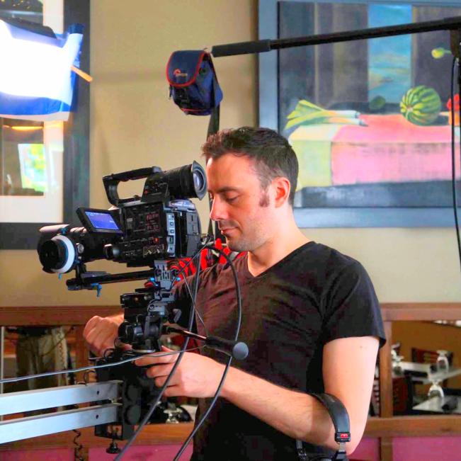 """David at his """"day job"""" on set"""