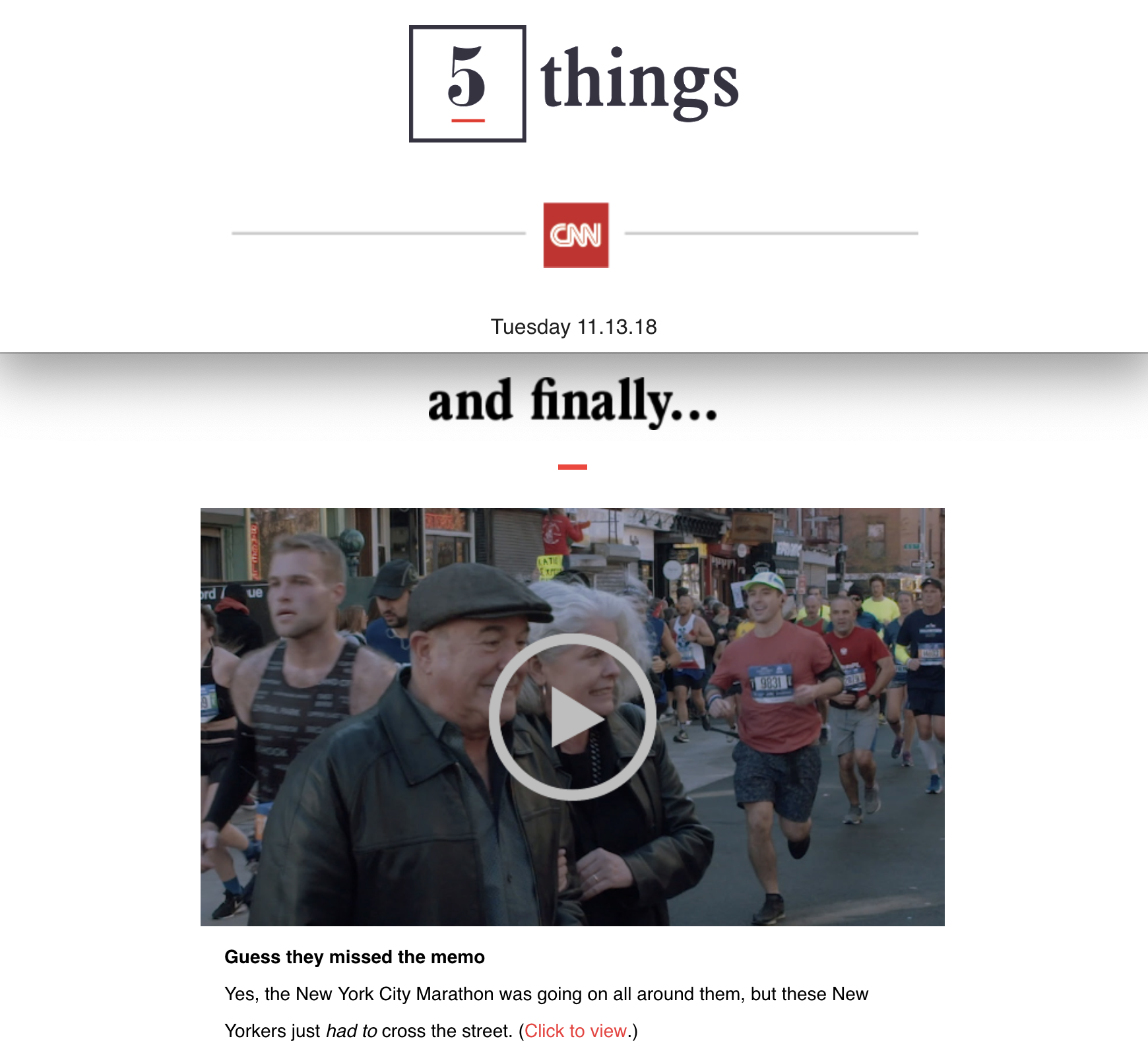 "CNN's ""5 Things"" Email"
