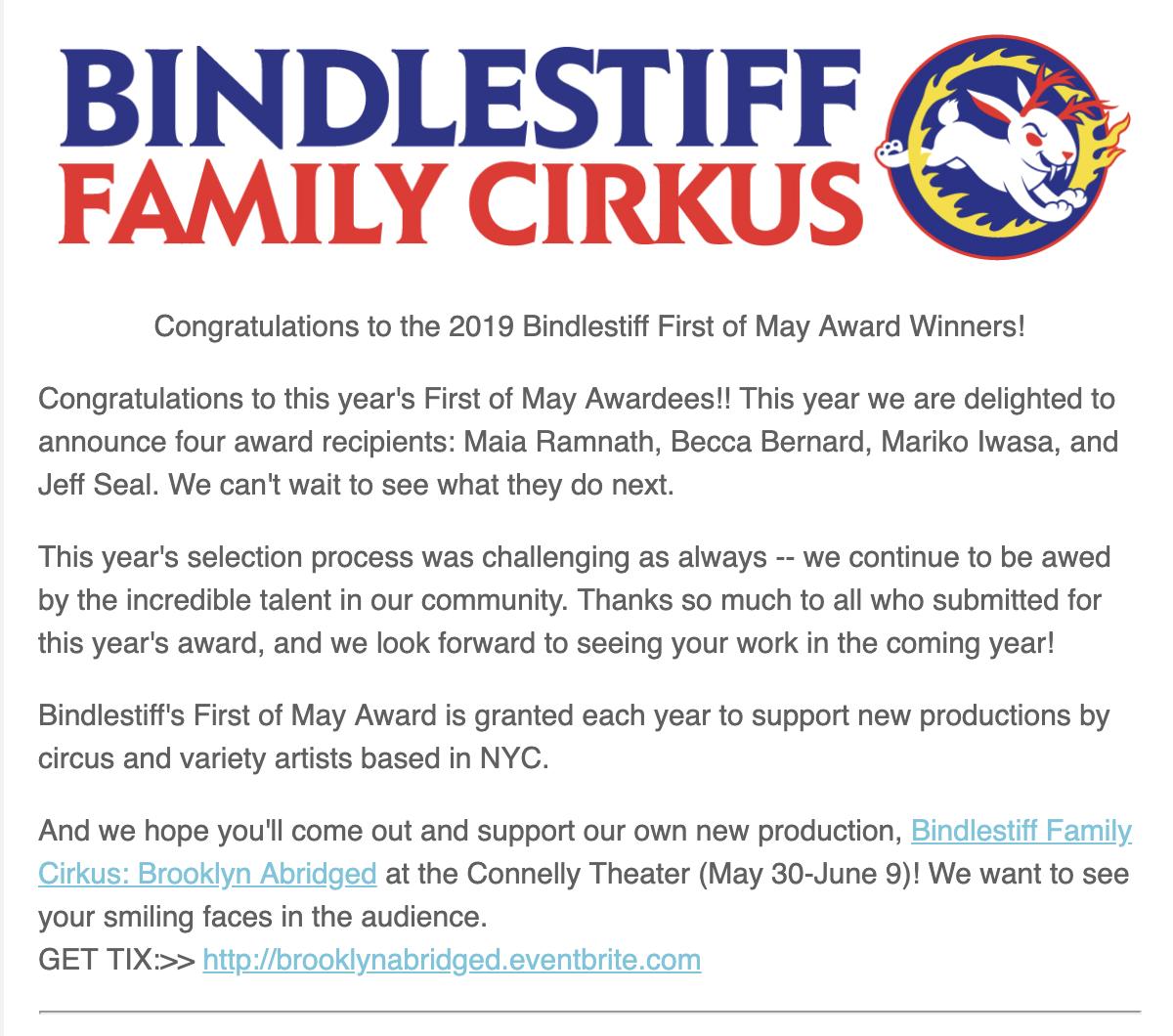 Bindlestiff Family Cirkus First of May Award